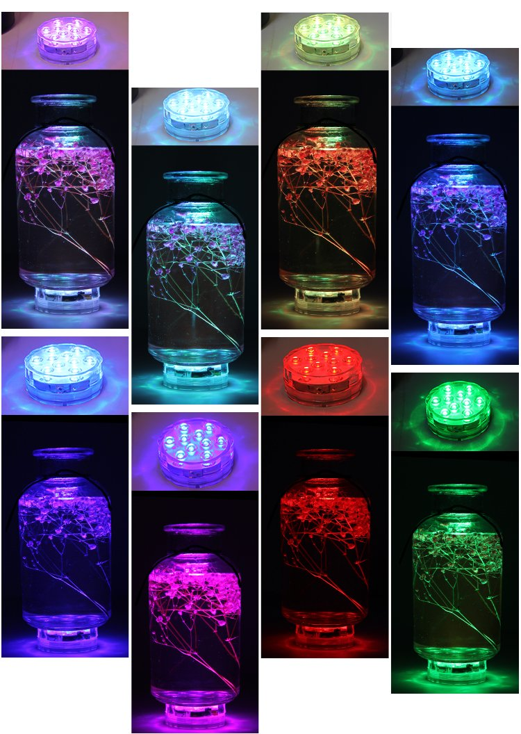 Underwater Submersible LED Lights Waterproof Multi Color Battery Operated Remote Control Wireless 10-LED lights for Hot Tub,Pond,Pool,Fountain,Waterfall,Aquarium,Party,Vase Base,Christmas,IP68 2pack by WHATOOK (Image #3)