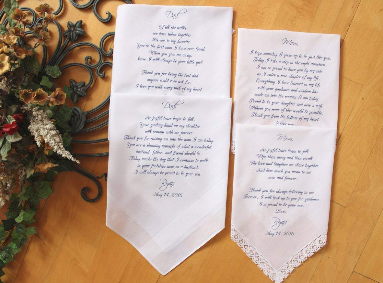 Mother of the Bride Handkerchief-Parents of the Groom, Parents of the Bride Wedding handkerchiefs-Set of 4 handkerchiefs-PRINTED-MS1LS6FCAC by Snugahug[53]