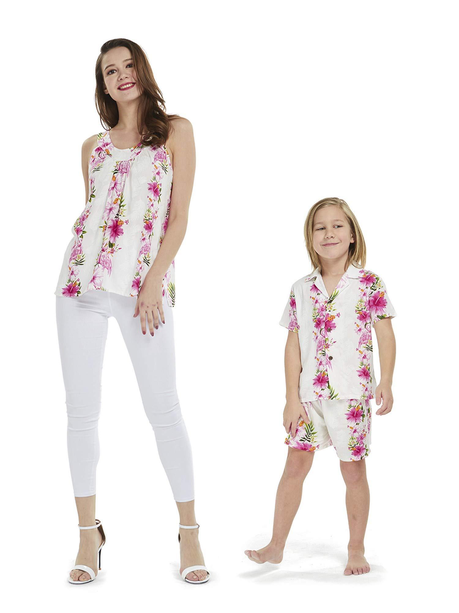 Matching Mother Son Hawaiian Luau Outfit Top Shirt in Pink Hibiscus Vine Women 2XL Boy 6
