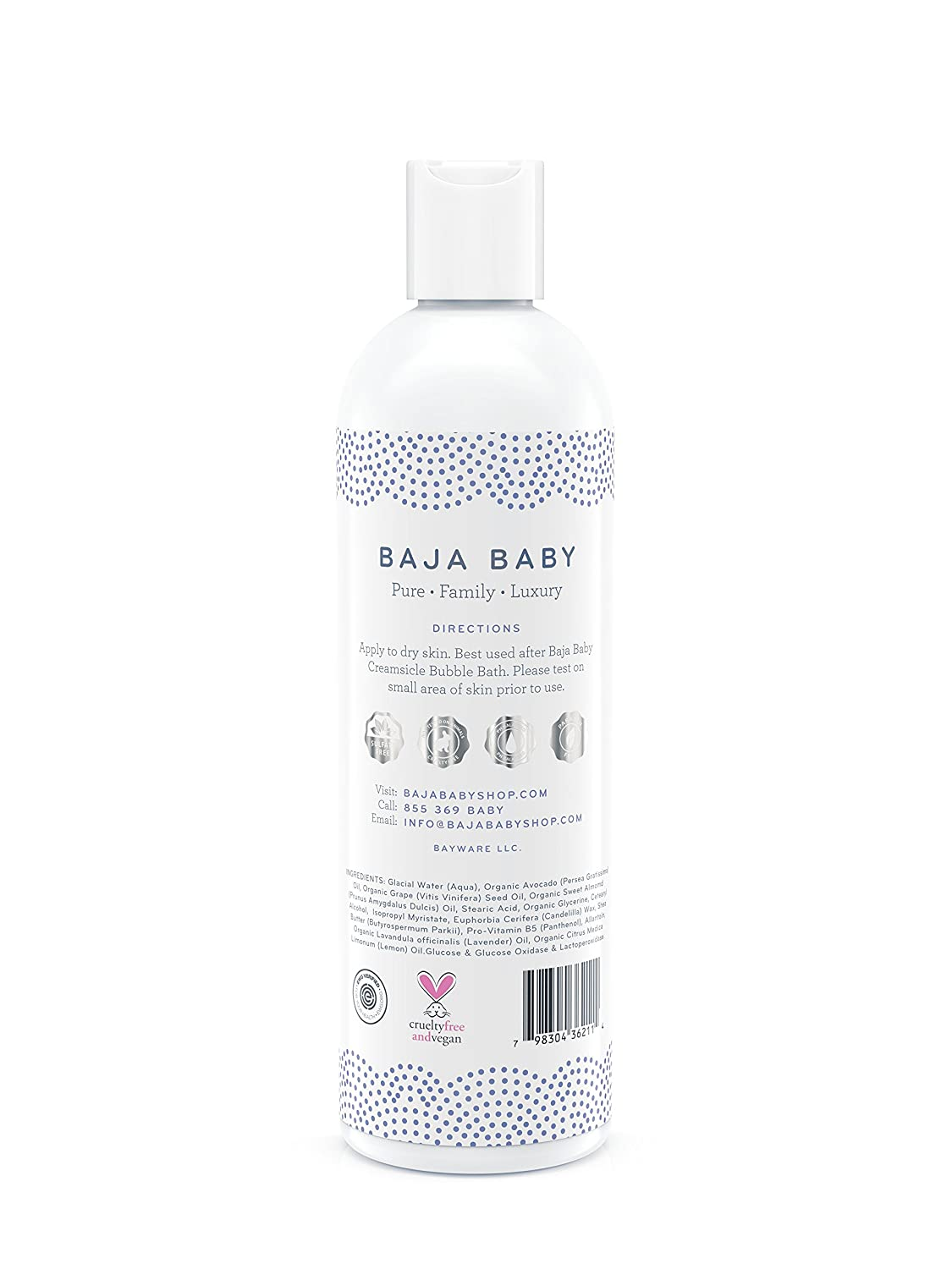 Baja Baby Organic Lavender Baby Lotion – 2 Pack – EWG VERIFIED – 12 Ounce Family Size – No Sulphates, Parabens or Phosphates – Safe For Sensitive Skin Cradle Cap