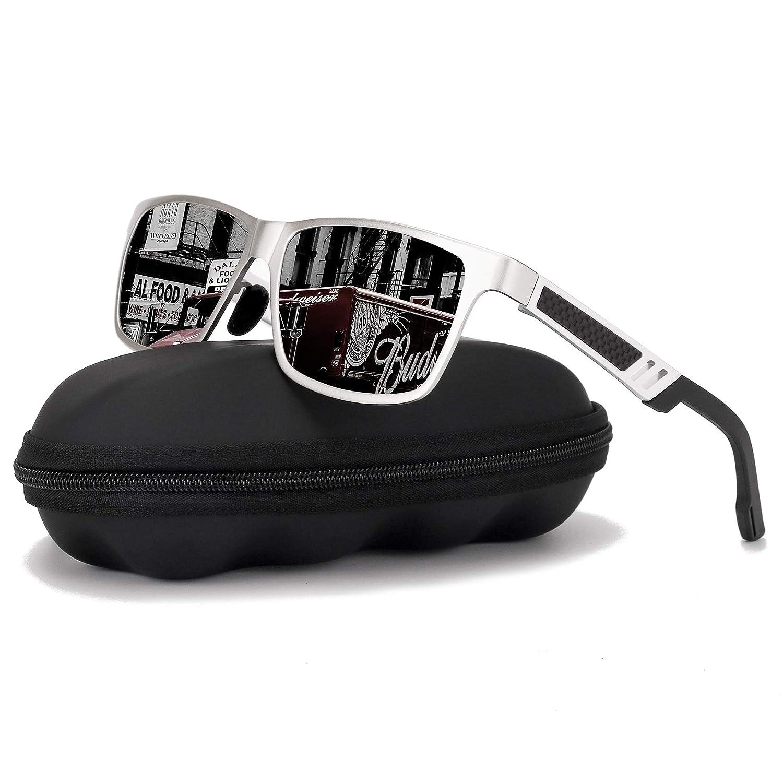 Black Silver Polarized Driving Sunglasses For MenGOUDI Mens Women AlMg Metal Frame Lightweight Fishing 100% UV Sports Outdoors GD8003