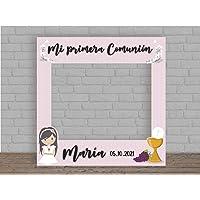 Photocall en Cartón para Comunión Rosa Personalizado Nombre y Fecha | 100x100cm | Photocall Económico y Original…