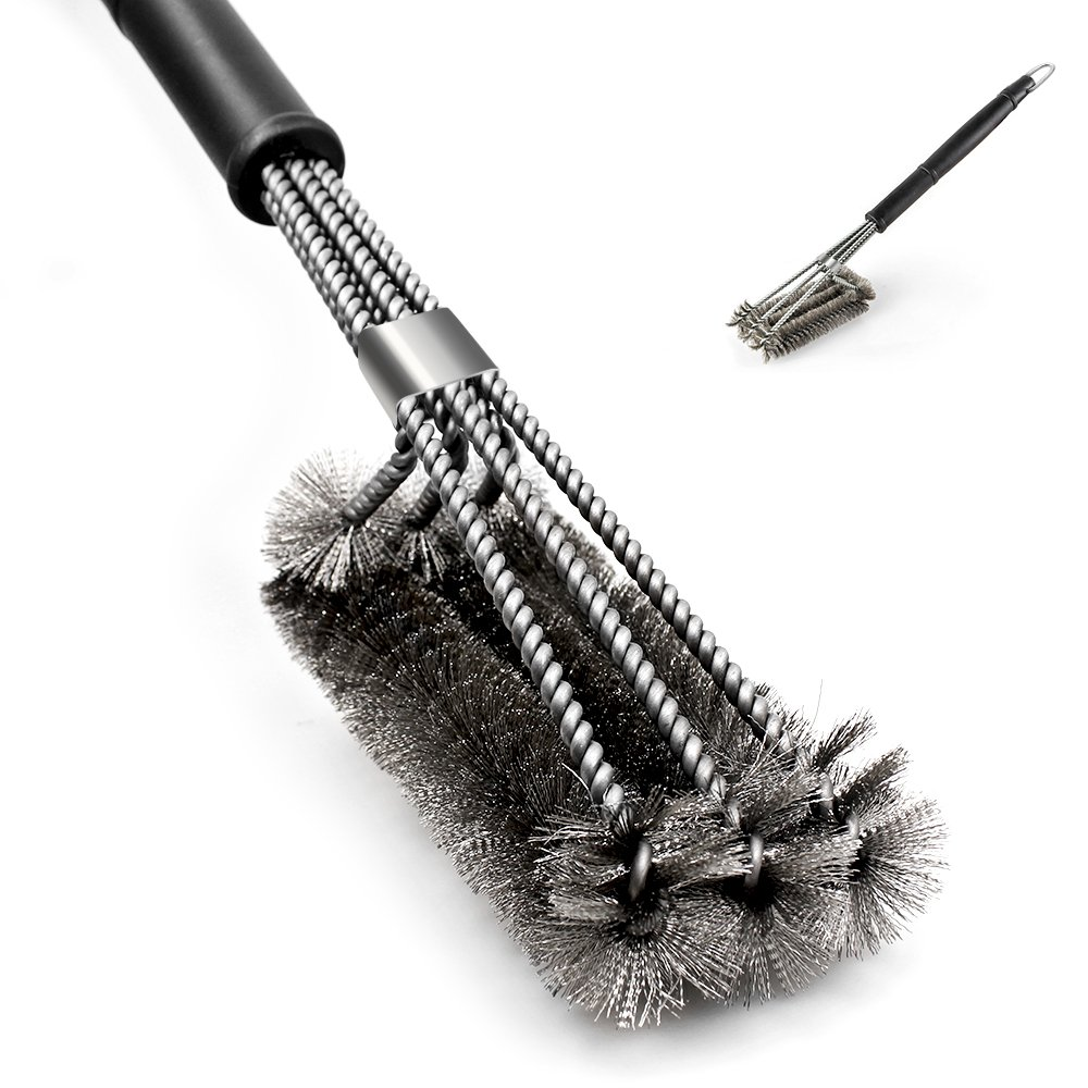 "BBQ Grill Brush, 18"" Barbeque Cleaning Scrubber with 3 in 1 Brush Heads made of Woven Stainless Steel Bristle Wire FineGood COMINHKPR123816"