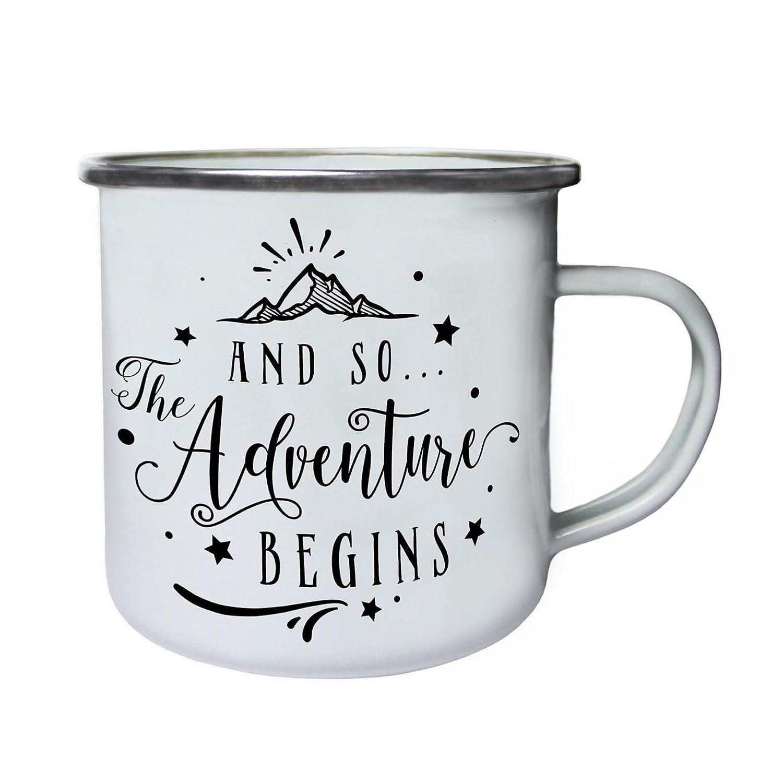 And So The Adventure Beginsレトロ、Tin、エナメル10ozマグj245e   B0737XY7GM