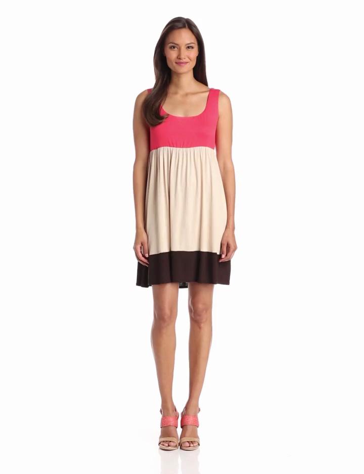 Tiana B Womens Scoopneck Colorblock Dress