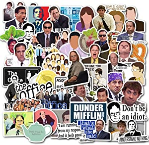 The Office Stickers Merchandise[50pcs]Funny Quote Design Pack With Michael Dwight Jim Dunder Mifflin for Hydro Flasks Water Bottles Laptop Notebook Computers Guitar Bike Helmet Car, Gifts for friends