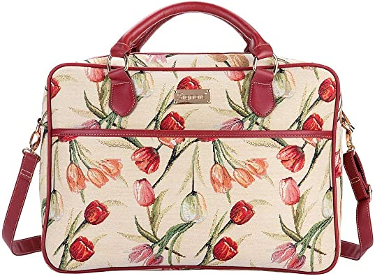 Medium Signare Tapestry White and Red Computer Laptop Notebook Bag 15.6 inch in Cheeky Cat CPU-CHEKY