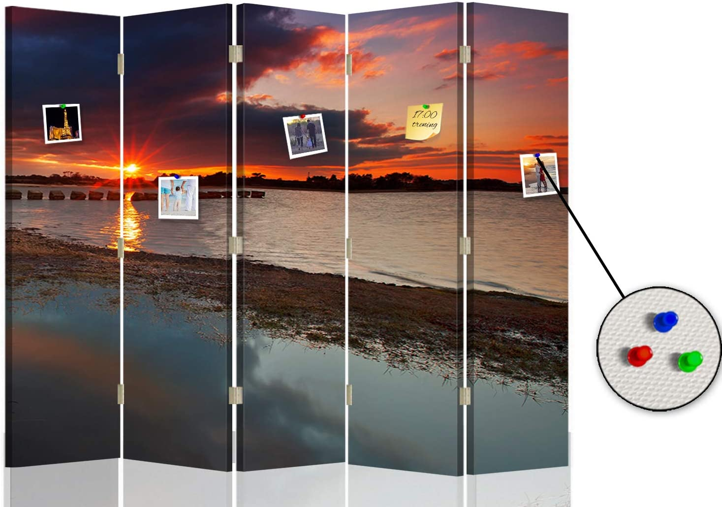 F FEEBY WALL DECOR Folding screen paravent single-sided 5 panels Sunset Multicolor 180x175 cm