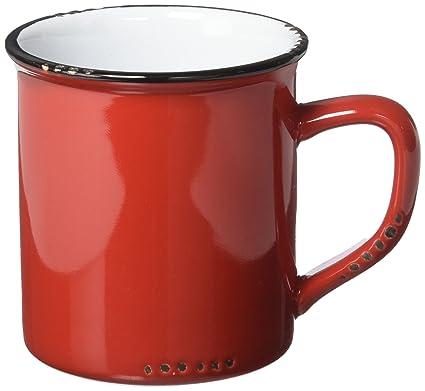 ac7b0571854 Amazon.com | Abbott Collection Enamel Look Stoneware Mug, Red ...
