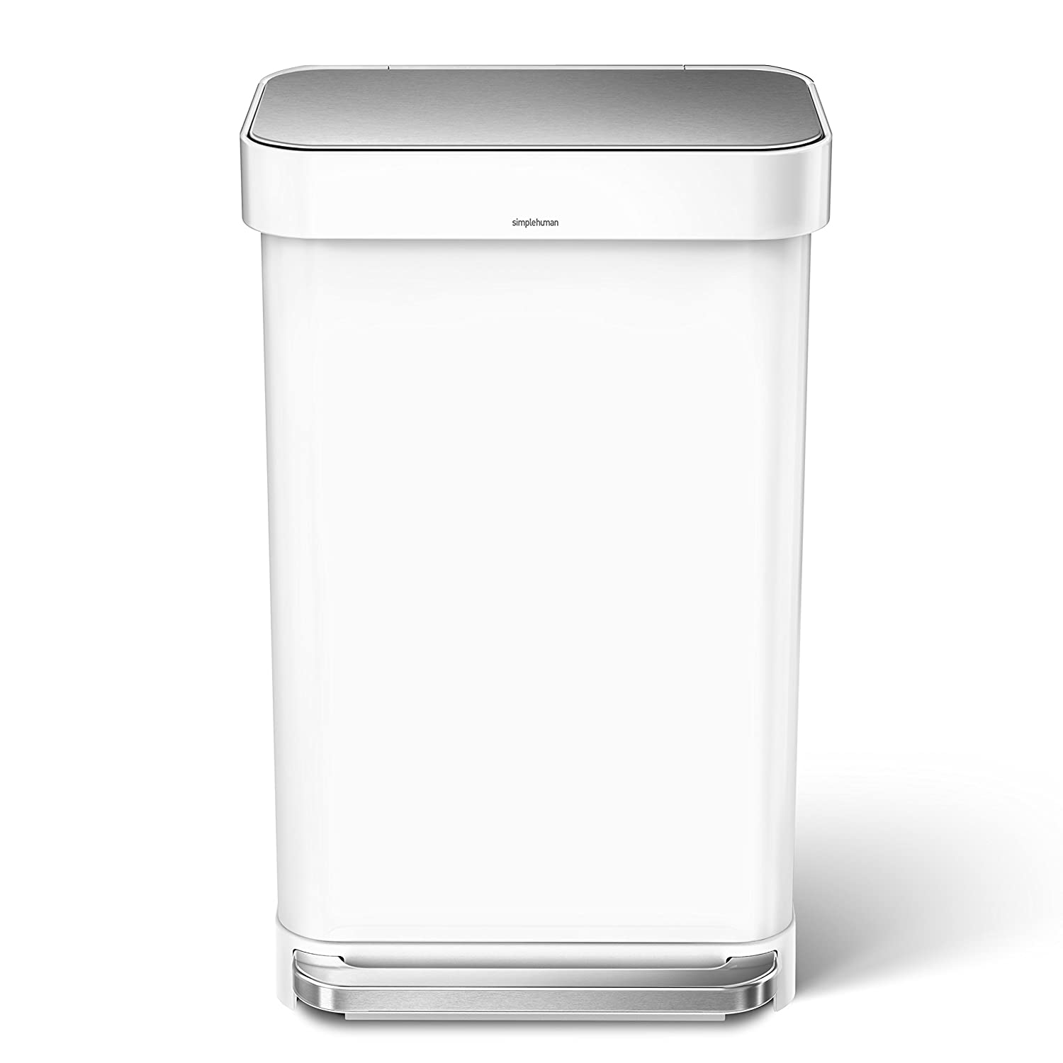 simplehuman Rectangular Step Trash Can with Liner Pocket, White Stainless Steel, 45 L / 11.9 Gal