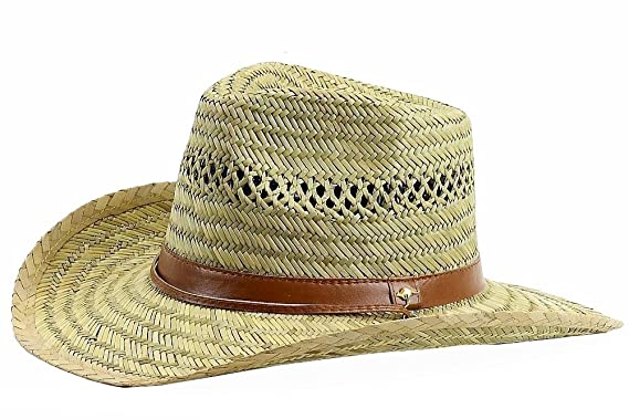Dorfman Pacific Mens Rush Straw Lightweight Outback Hat with Chin Cord ae8cac4d16c