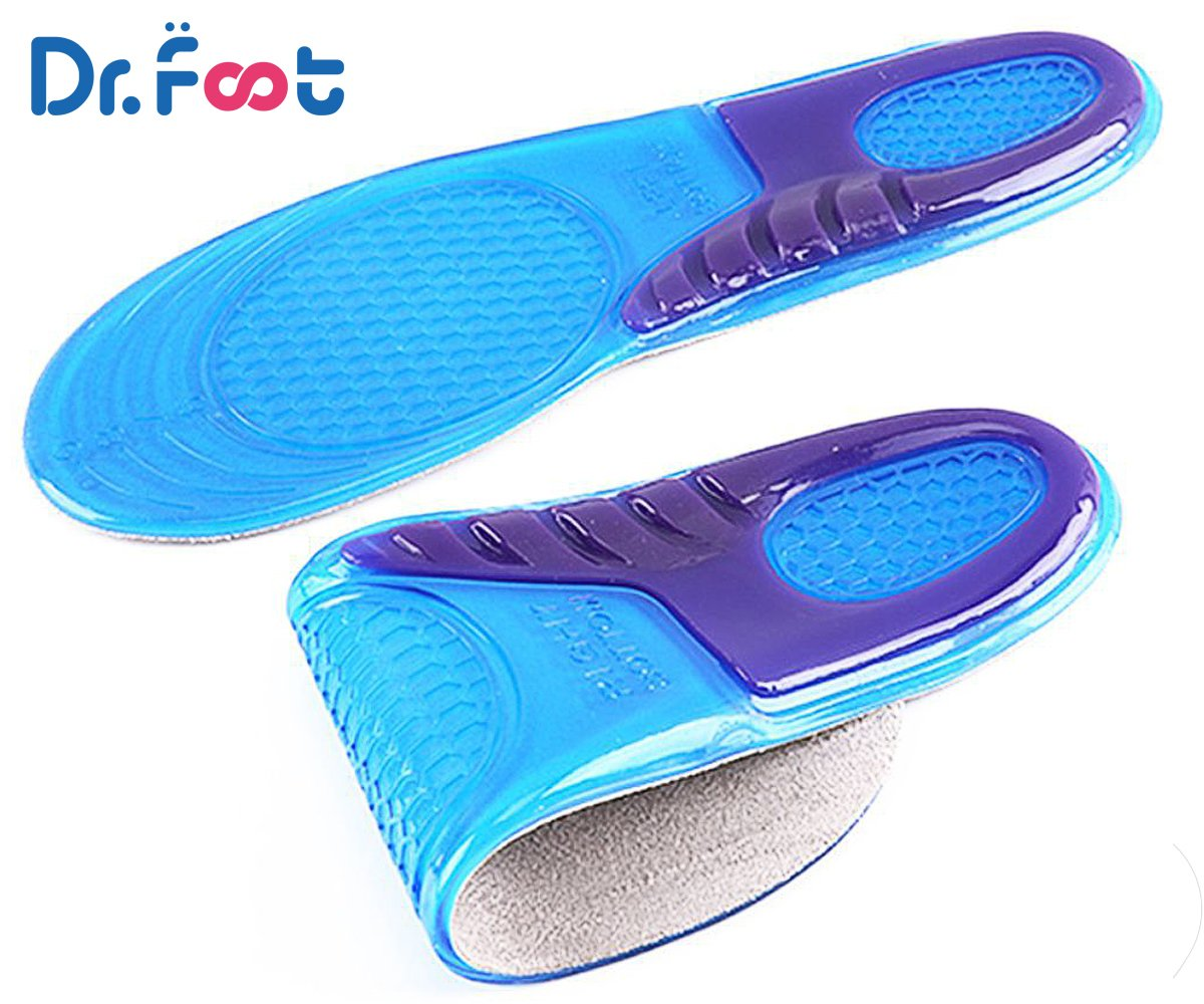 Dr. Foot\'s Sports Insoles, GEL Insoles for Shock Absorption, Heel Protection, Relieve Foot Pain, Heel Pain and Against Plantar Fasciitis for Men and Women (L | 8~13 US Men\'s, Purple+Blue)