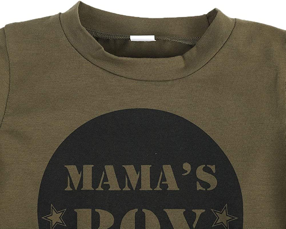 T-Shirt en Coton Imprim/é de Lettres /à Manches Courtes Pantalon de Camouflage pour B/éb/és Filles et Gar/çons 0-4Ans BOBORA V/êtements B/éb/é