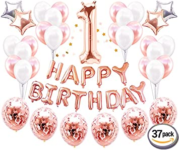 JeVenis 37 PCS Rose Gold First Birthday Party Decoration Sweet Heart One Happy Balloons Banner