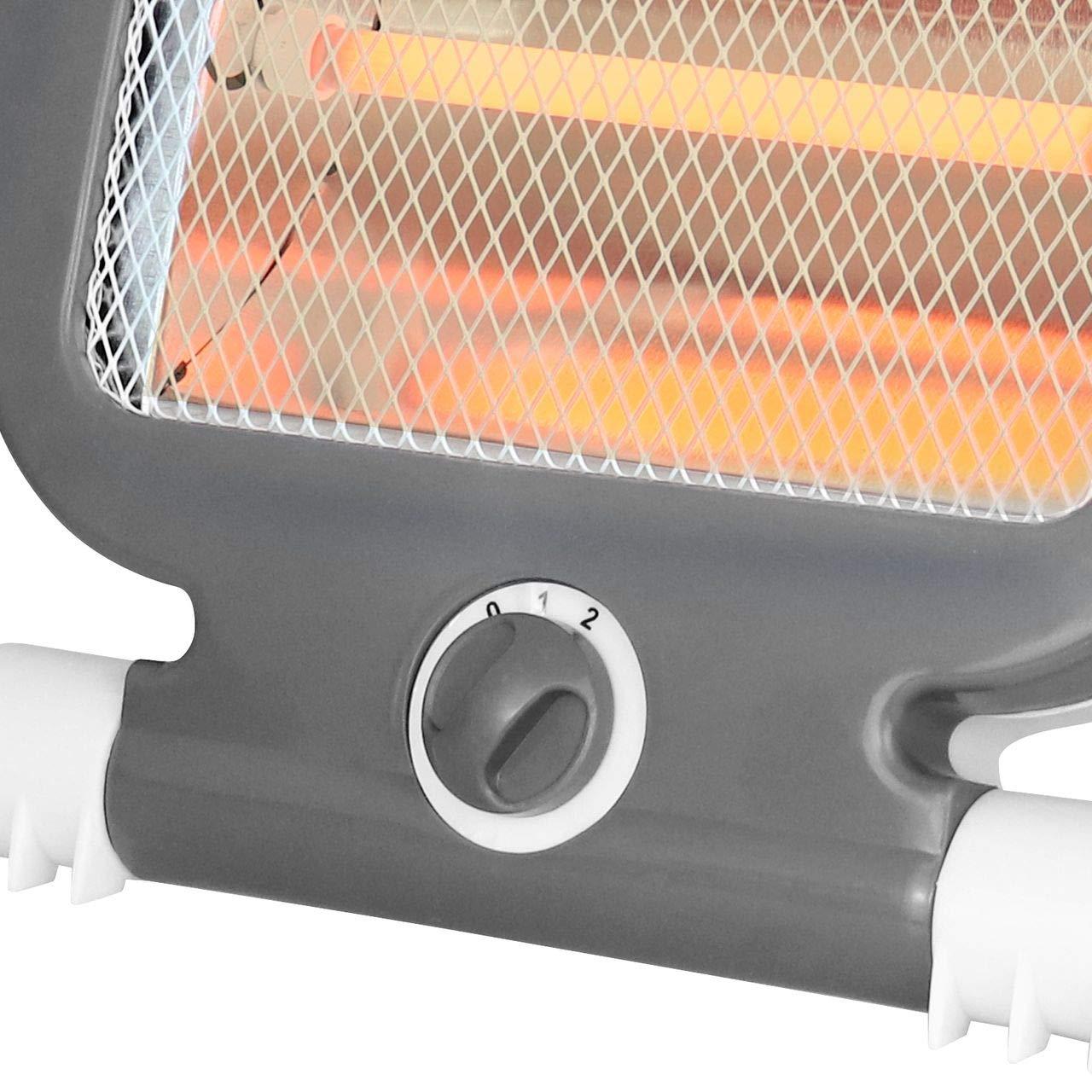 HxLxP poign/ée de Transport Protection Contre la surchauffe 2 Niveaux de Puissance 400 ou 800 W 37 x 25 x 15 Wellgro/® Chauffage Infrarouge Protection Anti-basculement Blanc//Gris