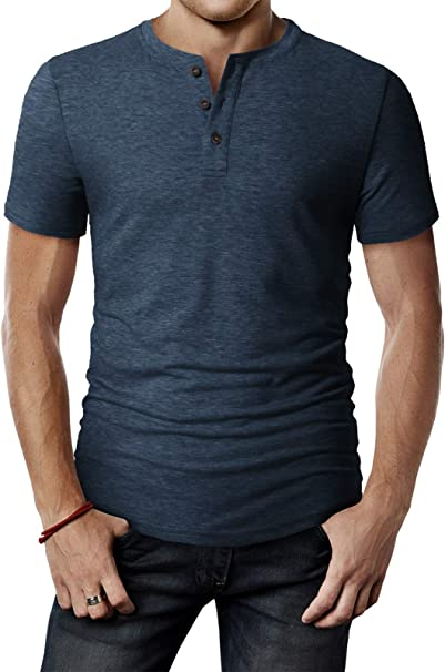 Mens Casual Slim Fit Henley T-Shirts Basic Designed Short Sleeve Tops