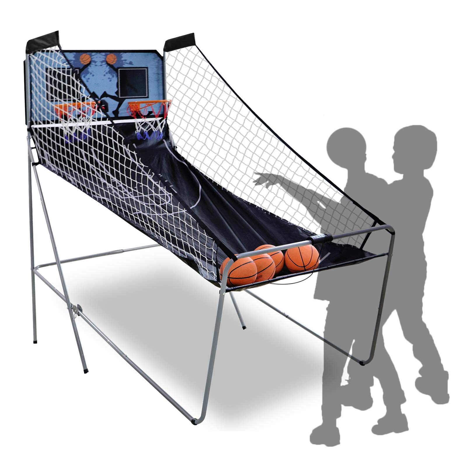 Nouva Foldable Electronic Basketball Games,Double Shotout Basketball Arcade Game with Electronic Scoreboard 4 Balls Inflation Pump for Official HomeIndoor by Nouva