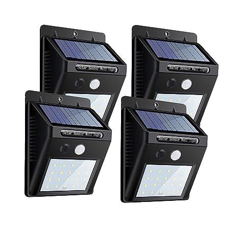 Foco Solar Exterior Luz solar jardín/luz 20 LED 1200mAH Gran Ángulo 120º Sensor de