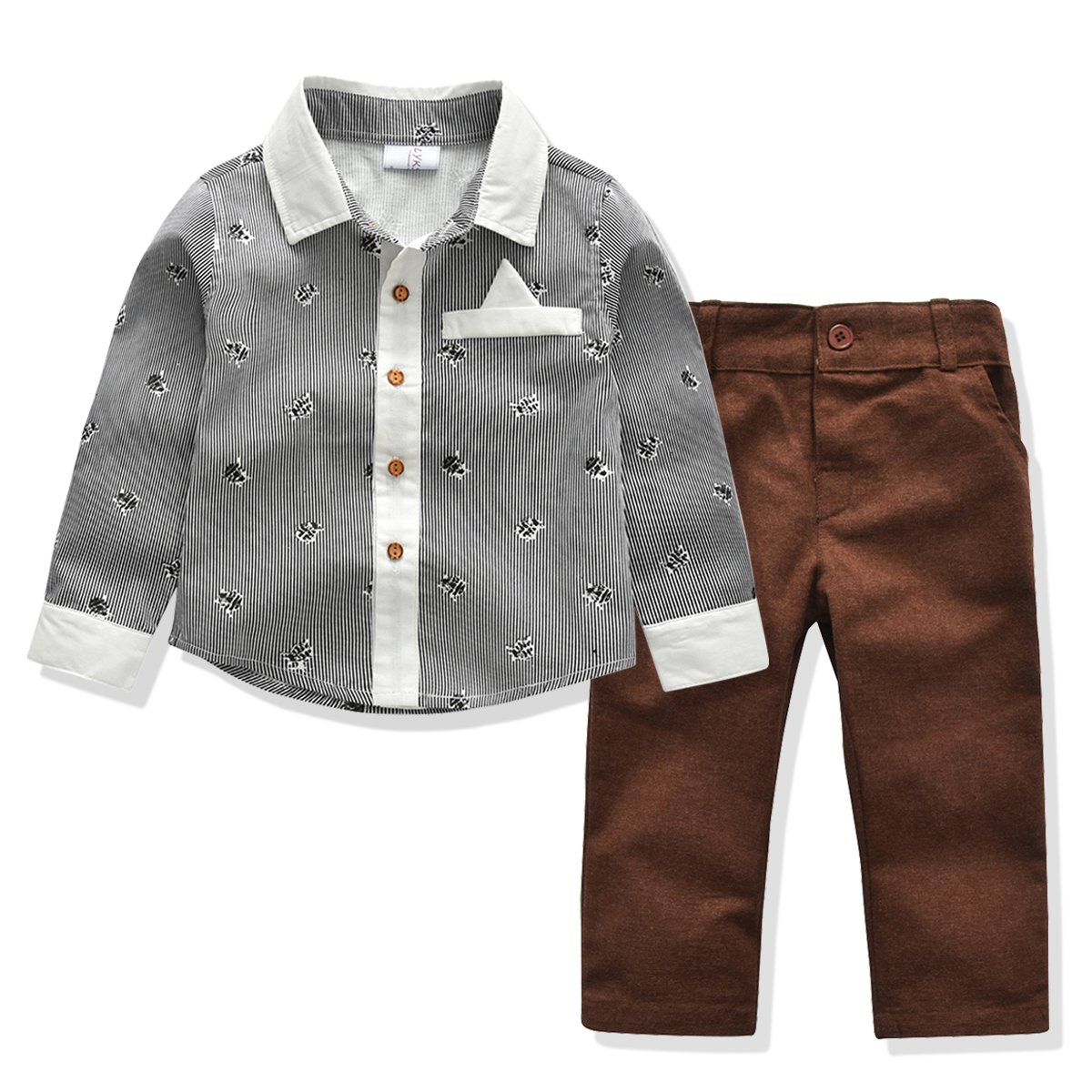 Kids Boys Clothing Set, Handsome Pattern 2 Pieces Outfits (5T)