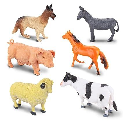 Amazon Com Funtok Animal Figures Toy Set Jumbo Farm Animals Toys