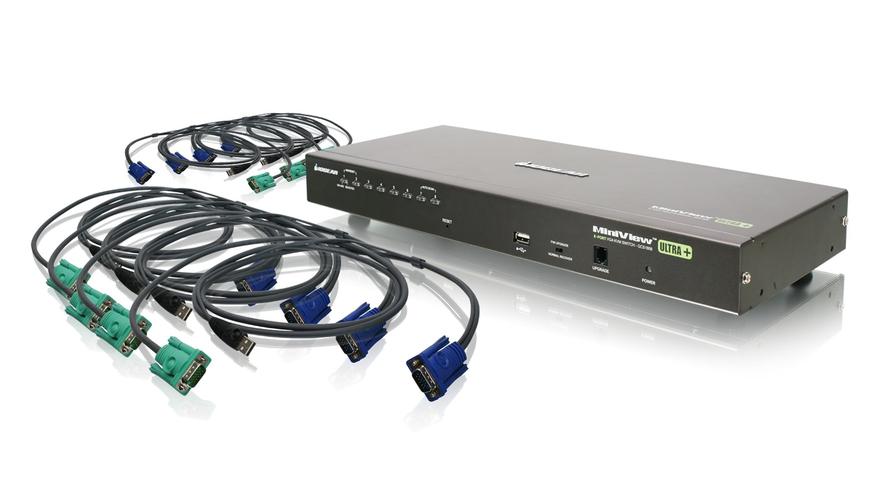 IOGEAR 8-Port USB PS/2 Combo VGA KVMP Switch with USB KVM Cables, GCS1808KITU by IOGEAR