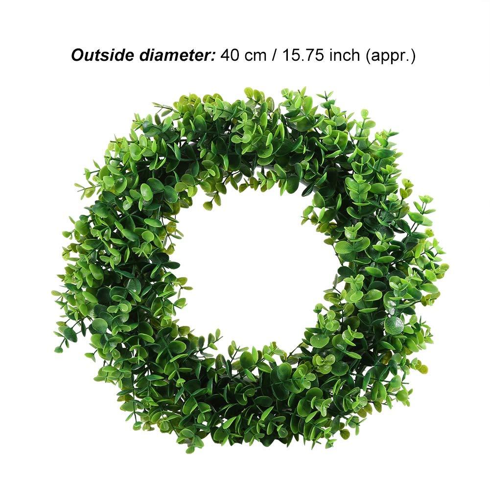 Wifehelper Corona Rotonda Foglie Verdi Artificiali Ghirlanda Appesa a Muro Finestra Ghirlanda Verde Ghirlande per Porta dIngresso Finestra Parete Decor