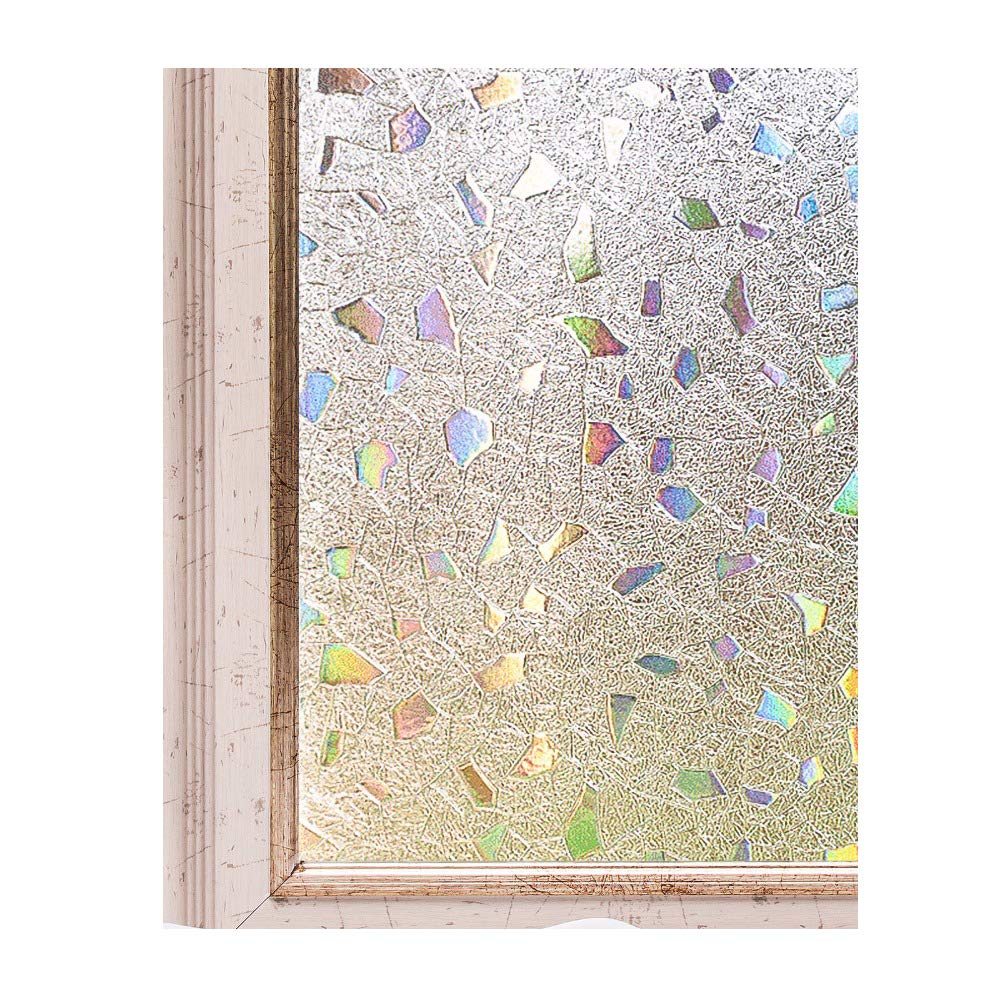 Max corner Window PVC Film Tint, French Door Stained Glass UV Protection Sun Screen Block Anti Heat Animal Skin Privacy Forest Marble Stone Size 45 X 200cm