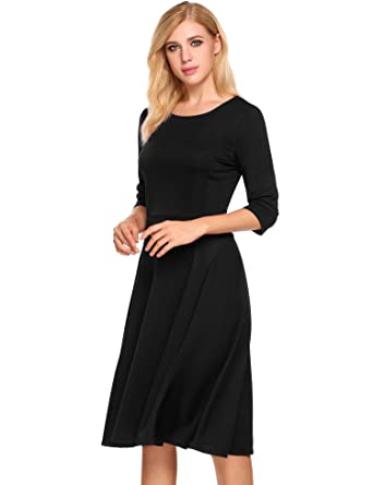 b494ae1098 Hotouch Women s 3 4 Sleeve Elegant A-Line Midi Casual Flared Dress with Back