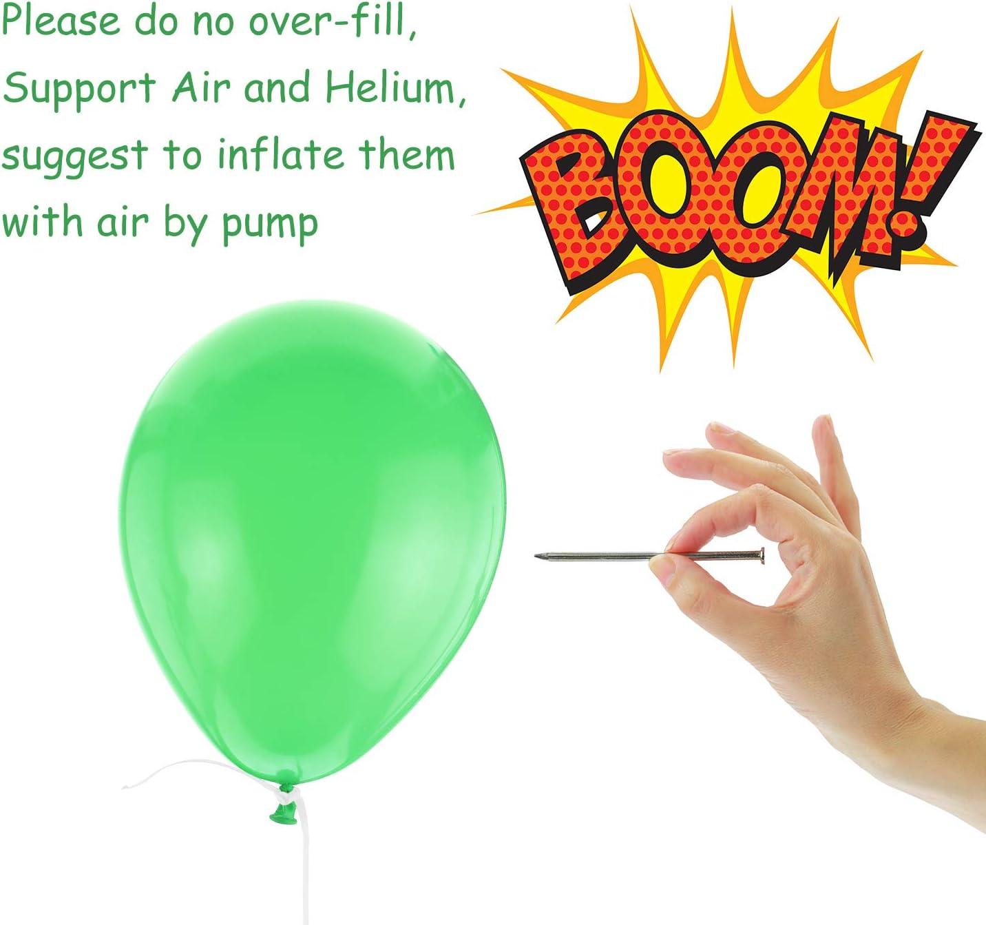 TUPARKA 100PCS Dinosaur Party Balloons with Ribbons 12 Inch Green Latex Balloons for Dinosaur Bithday Party Decoration Balloons
