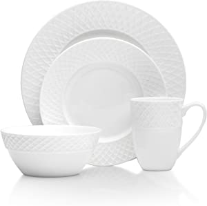 Mikasa Trellis 16 Piece Dinnerware Set, Service for 4, White