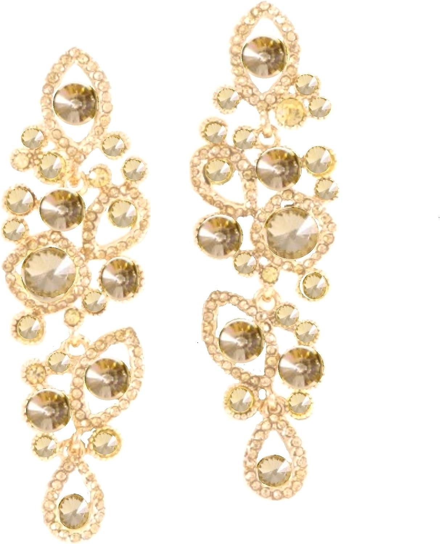 Ant Symphony Noche de Lujo Ball boda joyas y larga pendientes cristal oro Miel