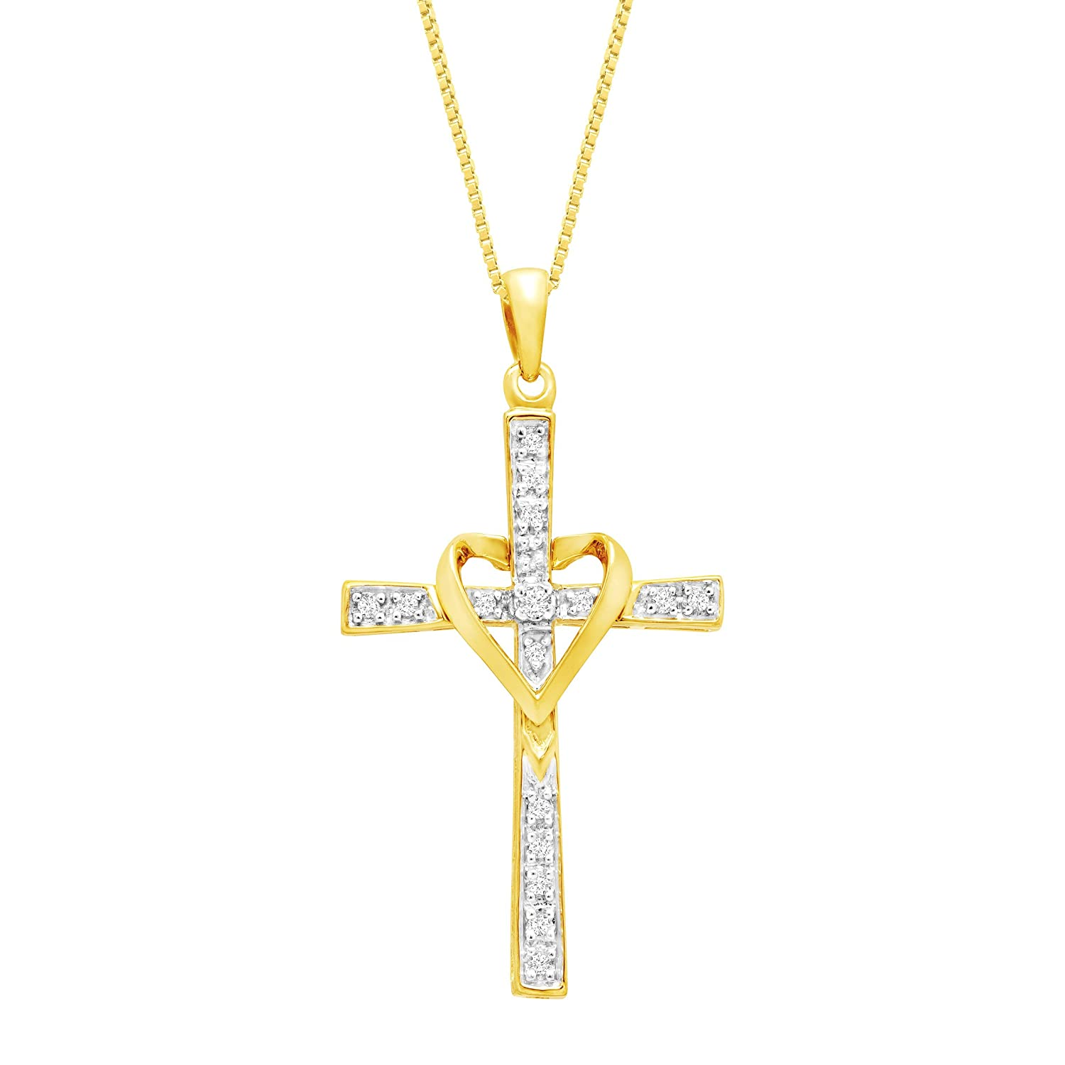 1/10 ct Diamond Cross Pendant Necklace with Heart in 14K Gold