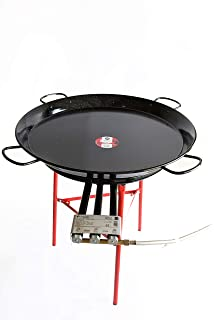 Paella Pan Enamelled + Paella Gas Burner and Stand Set - Complete Paella Kit for up
