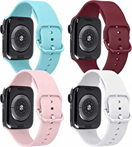Tobfit 4 Pack Compatible with Apple Watch Bands 42mm 44mm 38mm 40mm, Soft Silicone Replacement Strap Compatible with iWatch Series 6 5 4 3 SE (Wine Red/White/Pink/Light Blue, 42mm/44mm M/L)