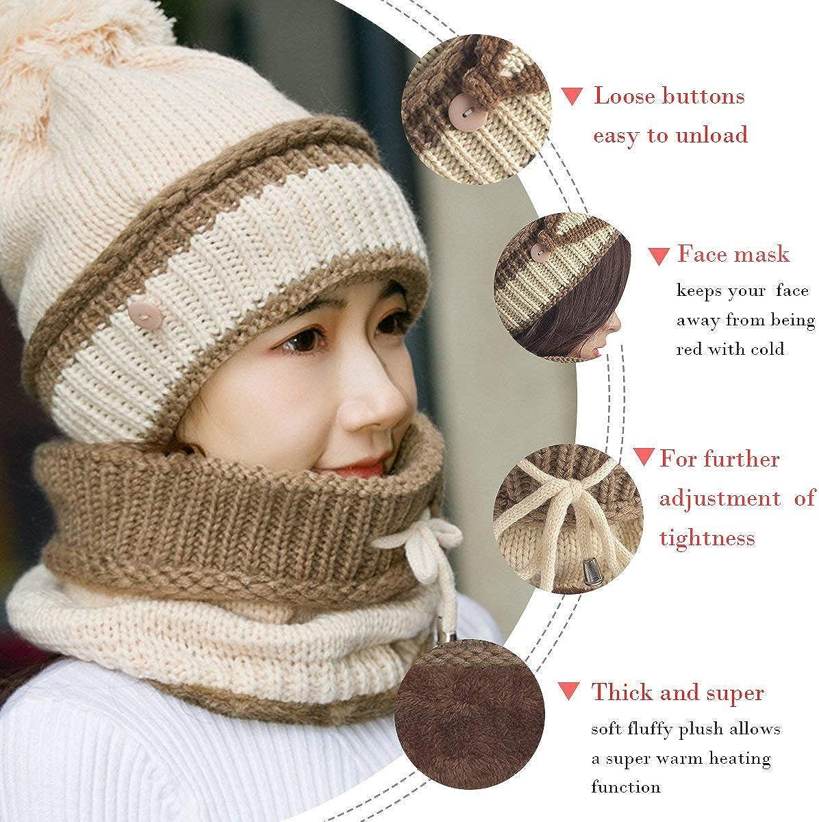 Cyiecw Winter Beanie Hat Schal und Maskenset 3-teilig Slouchy Snow Knit Skull Cap Infinity Schals f/ür Frauen