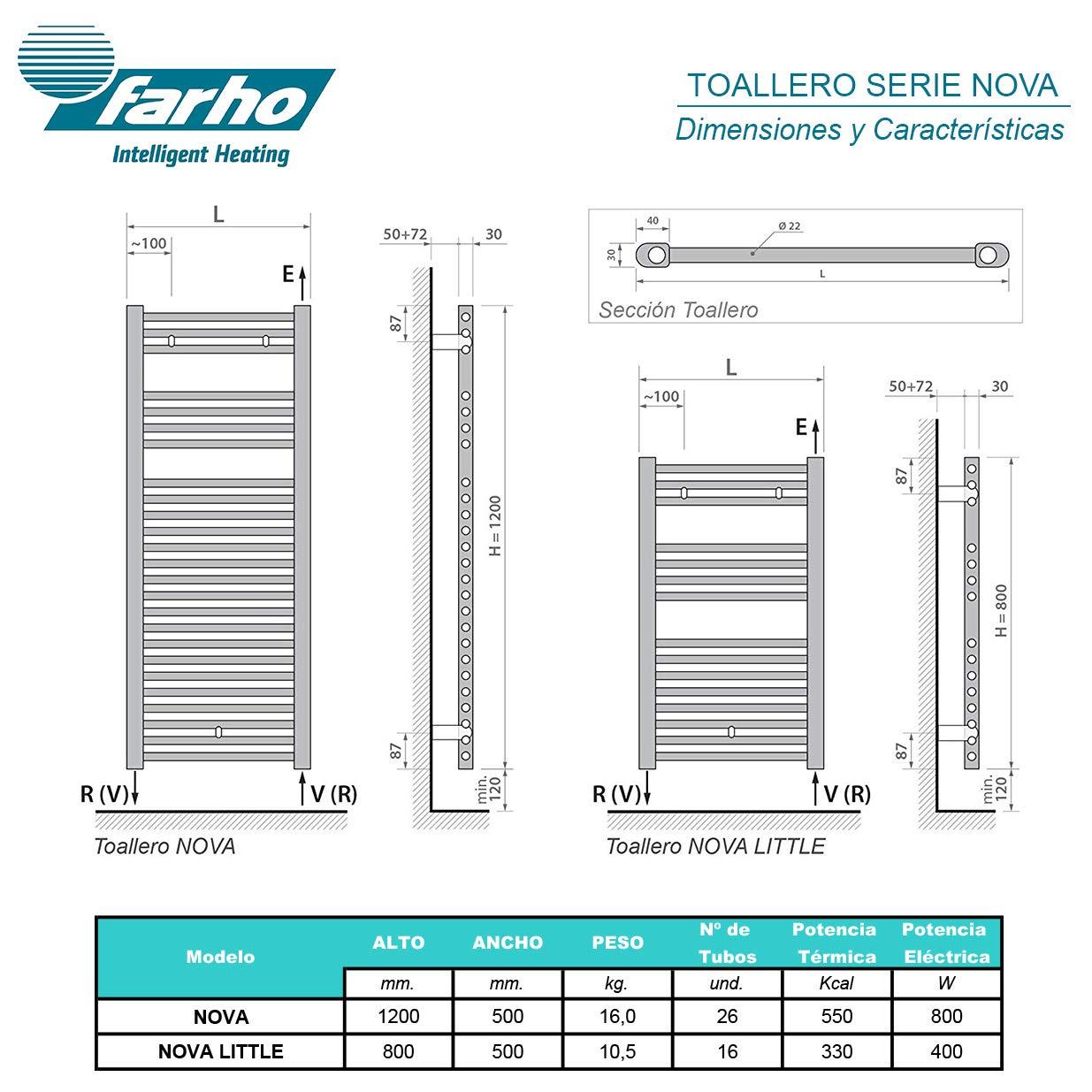 Medidas 800 x 500mm Secador de Toallas Electrico Farho NOVA Little Blanco 400 Watios /• Radiador Toallero Electrico Bajo Consumo /• Toalleros de Ba/ño//Calectador Toallas Digital Programable