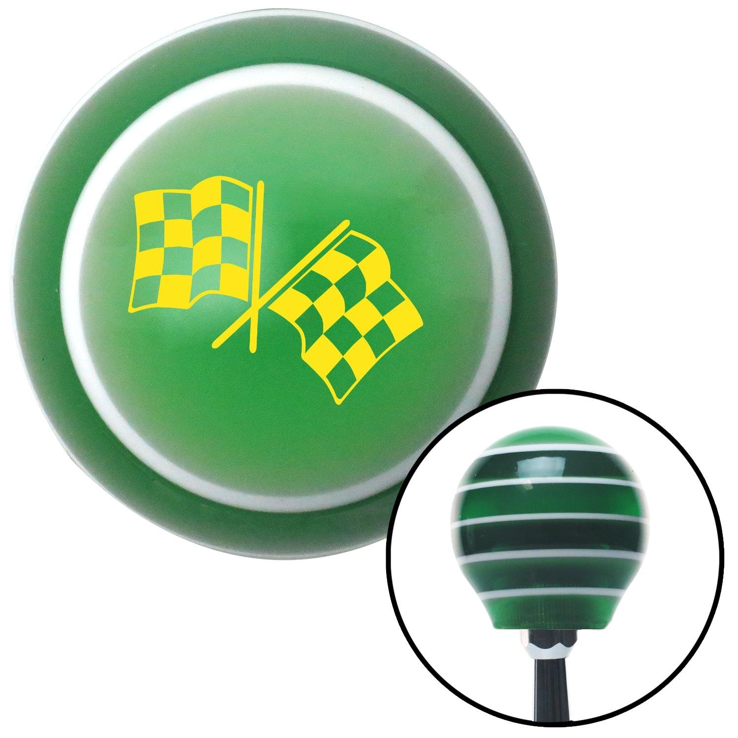 Yellow 2 Checkered Race Flags American Shifter 128479 Green Stripe Shift Knob with M16 x 1.5 Insert