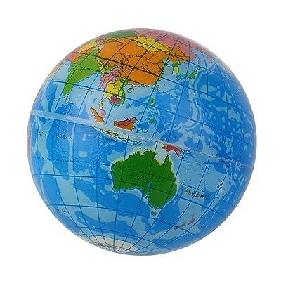 MachinYeser Mapa del Mundo Azul Espuma Tierra Globo Alivio del estrés Bola Hinchable Atlas Geografía Juguete TH092 Anime a los niños a Hacer Ejercicio Azul: Hogar