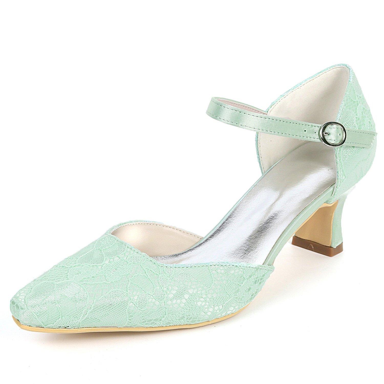 vert Layearn Chaussures De Mariage pour pour Femmes 5.5cm Bout Rond Fleurs Chunky Dentelle à La Main en Satin Soie Talons Hauts  qualité pas cher et top