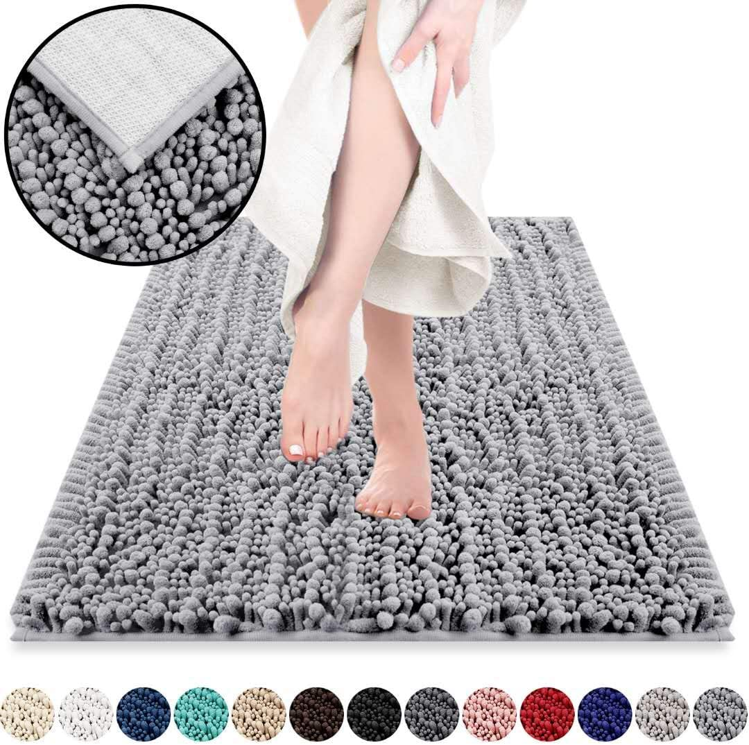 DEARTOWN Non-Slip Shaggy Bathroom Rug,Soft Microfibers Bath Mat with Water Absorbent, Machine Washable (24x39 Inches, Silver Grey)