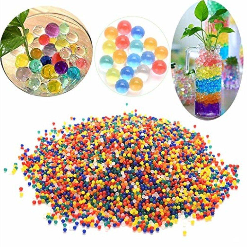 Vikenner 1000pz Kids gel Soil Water Beads bio gel Aqua palle Jelly Water Growing balls wedding Gems vase filler–Rainbow color mix 2.5-3mm 1000 Pcs
