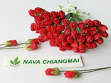 Amazon nava chiangmai mini red rose bud mulberry flower paper nava chiangmai mini red rose bud mulberry flower paper wedding flowers mulberry flowers mightylinksfo