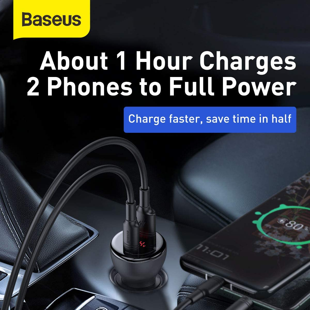 iPad Pro//Air 2 // Mini USB Car Charger Baseus Digital Display PPS Dual Quick Charger Car Charger 45W with Mini Cable Type-C to Type-C 60W for iPhone X // 8//7 // 6s // Plus HTC Note ,LG Nexus