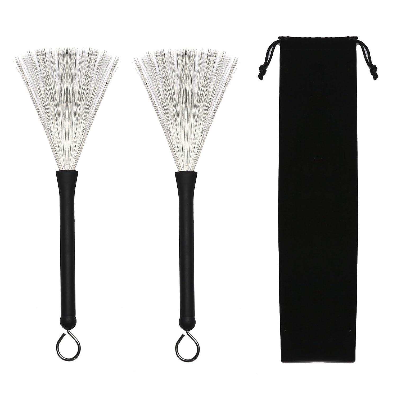 Gydandir 1 Pair Drum Wire Brushes Retractable Drum Sticks Brush with 1 Storage Bag