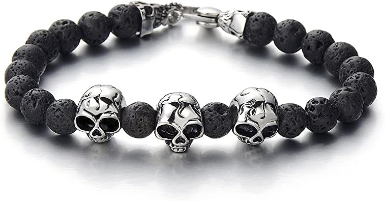 Mens Curb Chain 8MM Black Volcanic Lava Rock Stone Beads Bracelet with Stainless Steel Skulls
