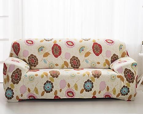 Beddingleer Beige Elegante Floral Impresión Funda para sofá de tela de alta elasticidad para sofá de 3 plazas, 190 * 230 cm, 1 pieza