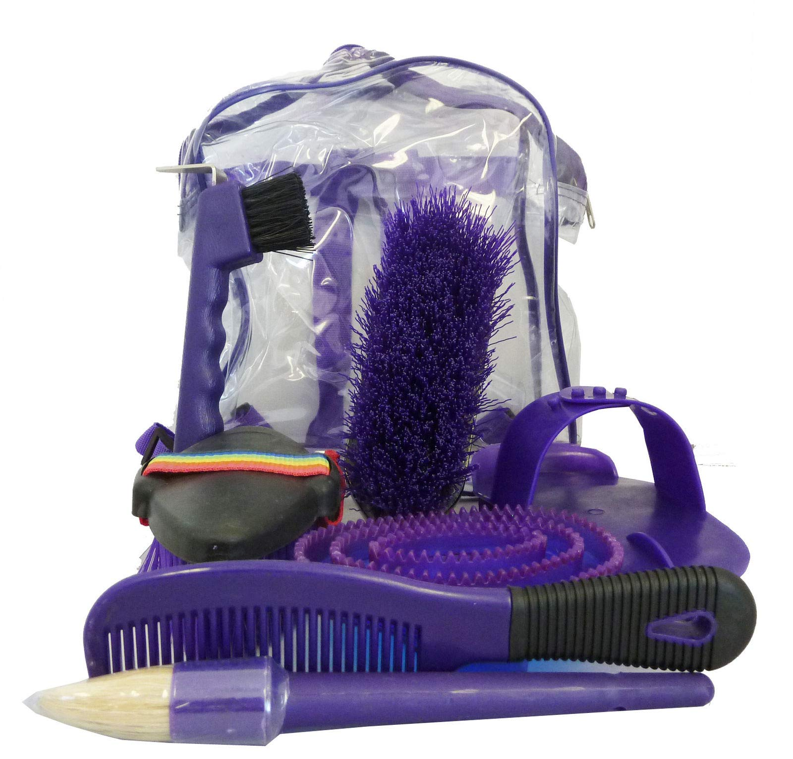 AJ Tack Wholesale Horse Grooming Kit Set 8 Pieces Barn Stable Supply Brushes Comb Hoof Pick Purple by AJ Tack Wholesale