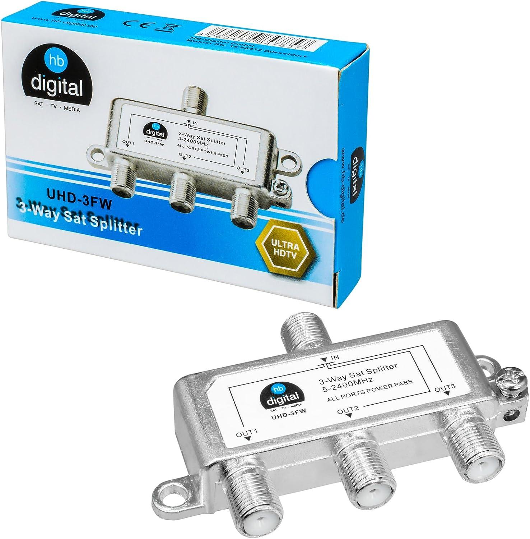 HB-DIGITAL SAT - BK - UKW - Divisor Triple (3 vías) ✨ 5-2400 MHz ■ Digital y Analógico - Adecuado ■ Totalmente Blindado ■ con paso de Tensión ■ SAT ...