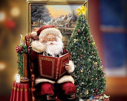 Amazon.com: Santa Claus Christmas Tree Painting Prints on Canvas ...