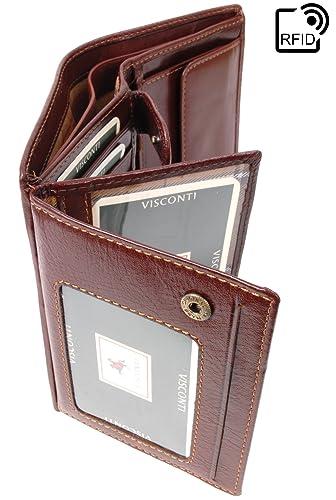 VISCONTI - MILAN MZ3 - Cartera - Cuero Hunter - Marrón - RFID: Amazon.es: Zapatos y complementos
